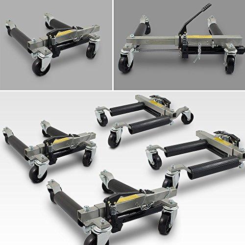 ms-point BITUXX® 4 Stück PKW Rangierhilfe Rangierheber hydraulisch Wagenheber Auto Rangierroller Rangierheber belastbar bis 680 kg pro Rangierroller