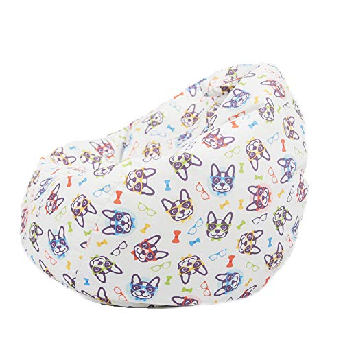 Puf de almacenamiento de animales de peluche con cremallera, funda para puf, solo puf, funda para silla para niños, adultos, adolescentes (gafas, perro, 60 x 75 cm)
