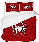 MUSOLEI Set copripiumino per letto matrimoniale con motivo ragno e federa per cuscino con cerniera 3D regalo 200 x 200 cm