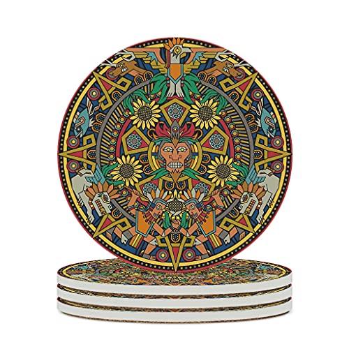 Ouniaodao Posavasos de cerámica antigua Inca maya duradera cerámica personalizada de cerámica posavasos únicos para el hogar – para regalo de cumpleaños blanco 4 piezas