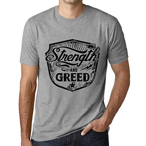 Herren Tee Männer Vintage T Shirt Strength and Greed Grau Meliert