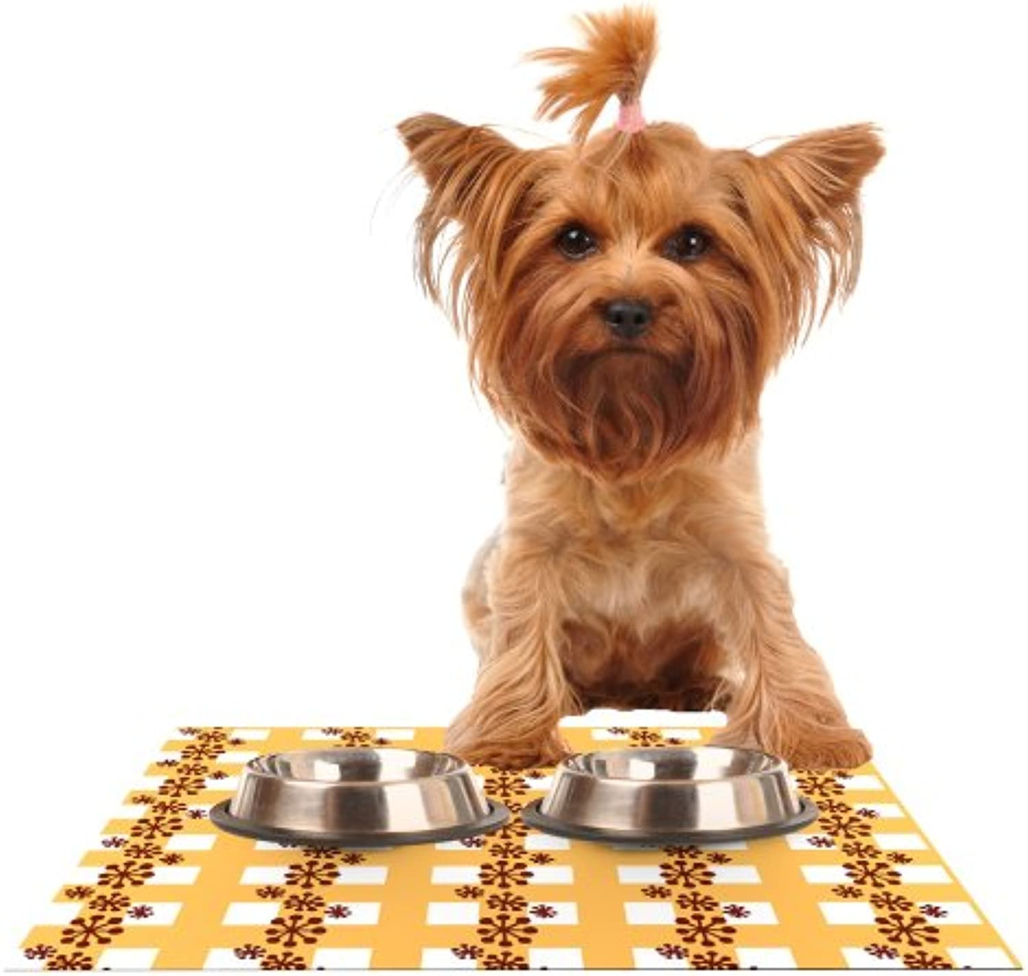 KESS InHouse Jane Smith Mushroom Repeat  Brown Yellow Feeding Mat for Pet Bowl, 24 by 15Inch