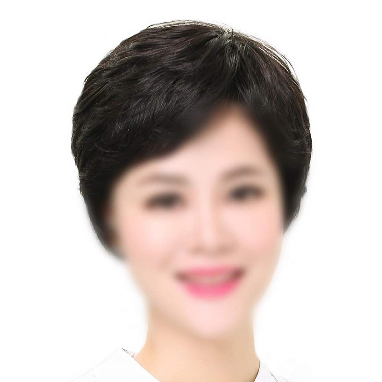 疎外するページェントのぞき穴HOHYLLYA フル織りの女性の自然な人間の髪の毛のマイクロ波短髪中年のかつらパーティーのかつら (色 : Natural black, サイズ : Hand-needle)