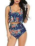ADOME Ruffled Bikini Set for Women Two Piece Tummy Control Swimsuits Flounce High Waist Swimwear Navy Blue, XL