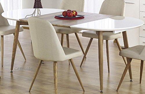 Tavolo da pranzo ovale con design allungabile 120÷200 cm x 100 cm x 75 cm, colore: Rovere miele e bianco.