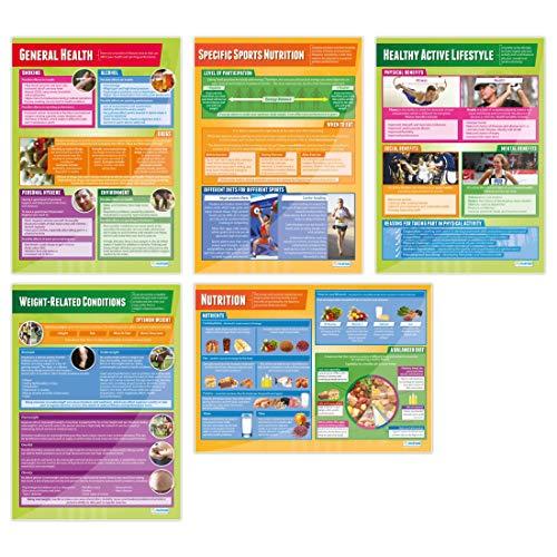 Conjunto de 5 pôsteres de saúde, fitness e bem-estar | Tabela de educação física, Laminated