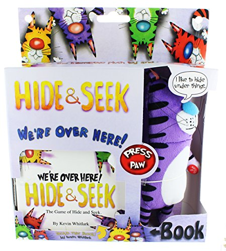 Extra Soft Interactive Stuffed Animal - Hide and Seek Plush Toy Cat with Book - Available in 4 Collectible Colors - Undy Purple