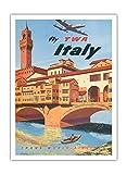 Pacifica Island Art Italia–Trans World Airlines Moscas TWA–Vieja Sociedad de Vuelo de Frank Póster De Viaje lacano c.1950s–Impresión (