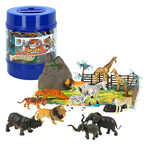 ColorBaby - Bote con animales salvajes Animal World - 21 piezas