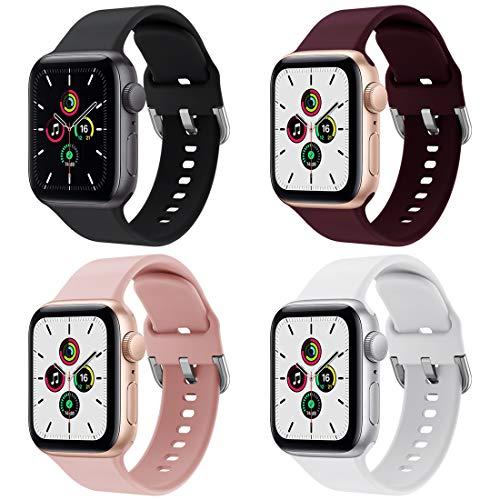 Hatolove Apple Watch Correa, Compatible con Apple Watch 38mm 40mm 42mm 44mm Correas, Deportivas de Silicona Correas de Repuesto Compatible con Apple Watch SE / iWatch Serie 6 5 4 3 2 1, Mujer y Hombre