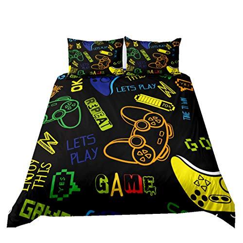 Sticker Superb. Juego de Ropa de Cama 3 Piezas de Dibujos Animados Game Gamepad Moda Funda Nórdica Creativa Impresión 3D para Niños Chico Niña Cubierta del Edredón (Negro 3, 180x210cm Cama 90 cm)