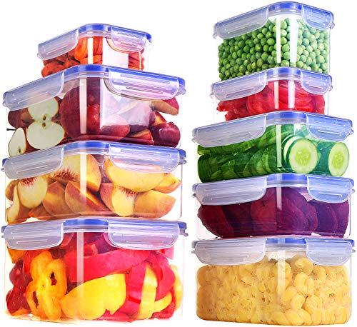 KICHLY 18 Pezzi contenitori in plastica a Tenuta stagna per Alimenti - (9 contenitori, 9 coperchi) per Cucina, dispensa, credenza – Sicuro nel Microonde e congelatore a Prova di perdite - Senza BPA