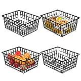 Wire Storage Basket, F-color 4 Pack Metal Household Storage Organizer Bin for Pantry, Shelf, Freezer, Kitchen Cabinet, Bathroom, Small, Black