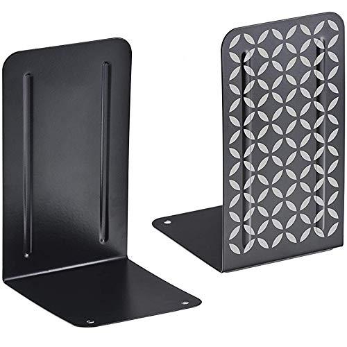 Acrimet Premium Buchstützen aus Metall Rutschfest Schwerlast 17.5 x 10 x 11.7 cm (Schwarz Buchstütze mit Silber Design) (1 Paar)