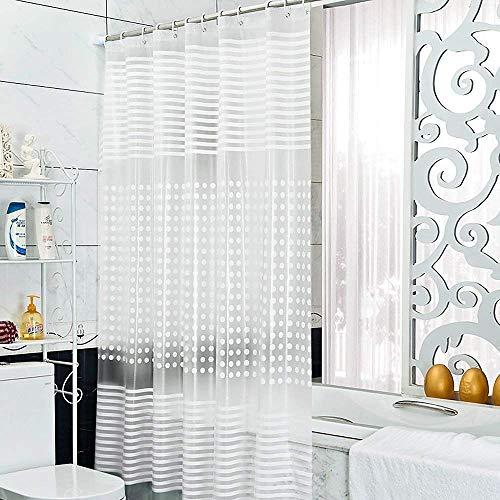 Duschvorhang, wasserdicht Schimmelresistent Umweltfre&lich abwaschbar klar Beschwerte Duschvorhang Set mit Ringen lang Duschvorhänge transparent, Ethylenvinylacetat, farblos, 200x200CM