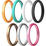 ThunderFit Women's Thin and Stackable Silicone Rings Wedding Bands - 7 Pack (Black, White, Turquoise, Copper, Rose Gold, Silver, and Gold, 5.5-6 (16.5mm))