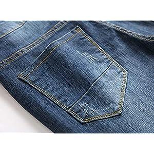 FEESON Men's Regular Straight Leg Ripped Broken Oversized Denim Dark Blue Jeans Pants 28