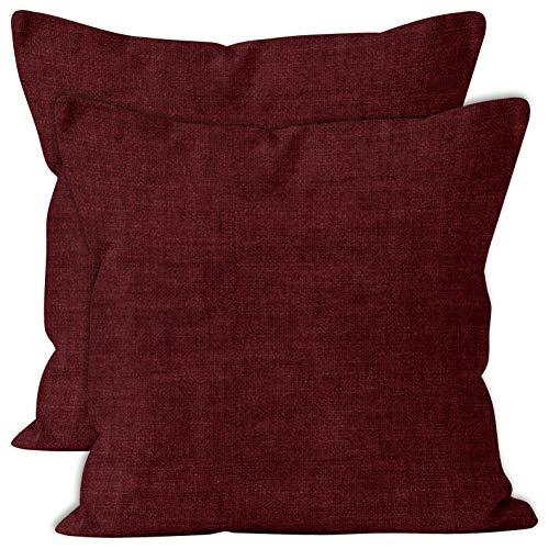 Encasa Homes Almohadas de Chenilla de Juego de 2 Piezas - Granate - 50 x 50 cm Color sólido Texturizado, Suave y Liso, Acento Cuadrado Cojín para el sofá, el sofá, la Silla