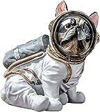 LIRONGXILY Juguete de Figuras de Perro Simulación Bulldog Resina Astronauta Dog Estatua Craftwork Creative Animal Modelo Decoración del hogar Regalo ( Size : 19x15x19cm )