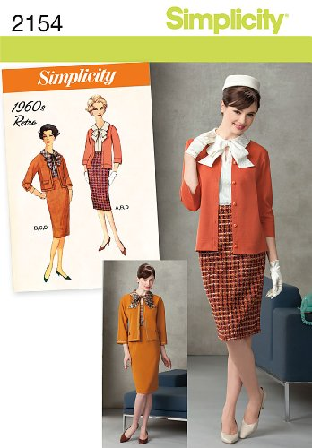 Simplicity 1960's Retro Pattern 2154 Misses Miss Petite Blouse, Skirt, Jacket, Knit Cardigan Size 6-8-10-12-14