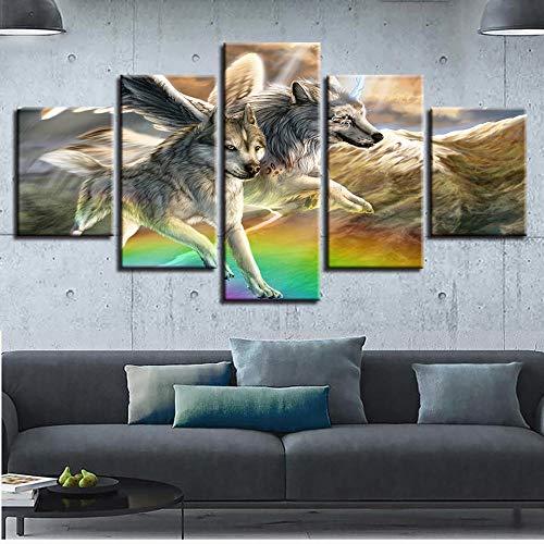 RMVNIE Cuadro Sobre Impresión Lienzo, 200X100Cm Mural Moderno 5 Piezas Dibujos Animados De Alas De Ángel De Lobo Animal Dormitorios...