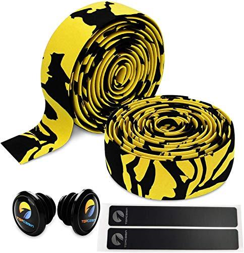 Topcabin Camouflage-Serie, komfortables Gel-Lenkerband für Rennräder, mit reflektierenden Stöpseln, Gelb (ein Paar)
