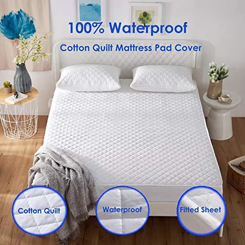 BEDDIANTAO matrasbeschermer, waterdicht, overtrek 100 x 200 cm, 100% katoen, gewatteerd, bescherming voor matras, bedbescherming, muggenbescherming, zachte matras, topper