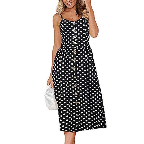 nobrand Sommer europäische und amerikanische sexy Neckholder Button Back Kleid Frauen