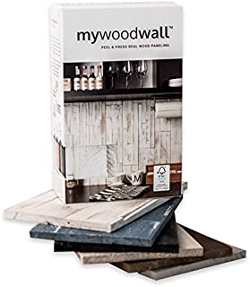 """mywoodwall Non-Toxic DIY Wood Wall Paneling Arcadian Collection Sample Box, Timeless Design, 100% FSC Certified Real Wood, Peel/Press Easy Installation, 6 Colors, Each 7 3/4"""" L x 4 7/8"""" W x 3/8"""" H"""