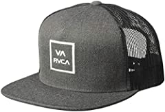 Mens trucker hat, Embroidered VA RVCA logo on front, Single twill fabric front panel, Mesh back panels, Mid fit, Structured front, RVCA woven flag label on back, Interior woven fit label. Mens trucker hat, Embroidered VA RVCA logo on front, Single tw...