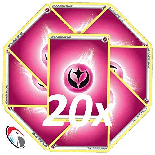 Generisch Einsteigerset Pokemon Basis Energie Karten - 20x Fee Energie - Deutsch Cardicuno