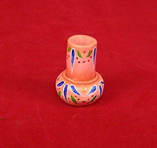 Miniatur Vase aus Fimo, terrakottafarbig, handbemalt. Für 1:12 Puppenstuben.