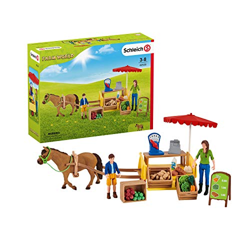 Schleich Farm World  21-Piece Playset  Farm Toys for Girls and Boys Ages 3-8  Sunny Day Mobile Farm Stand