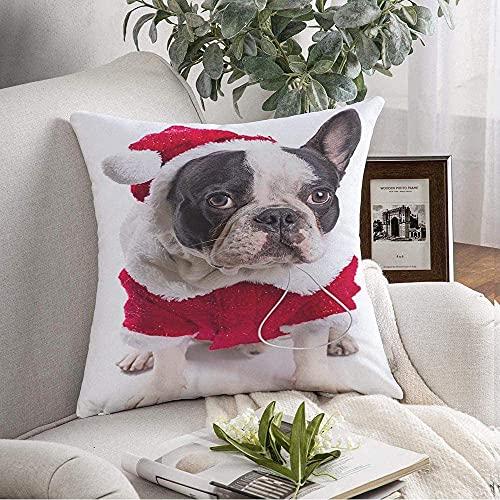 Fundas de almohada Funda Cozy French Bulldog Box Disfraz Navidad sobre animales en las orejas Happy Head Wildlife Puppy Holidays Space Throw Pillow Funda de cojín para sofá Decoración del hogar, 16