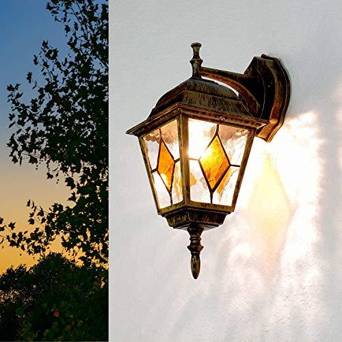 Antike Außenleuchte IP43 aus Aluguss Glas Laterne Außenlampe Wandleuchte Haus Hof