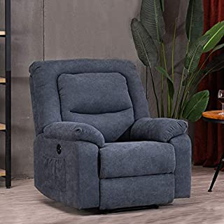 Electric Recliner Chairs Sofa with USB Charge Port for Adults, Power Recliner Chair with Heat and Massage, Fabric Recliner Chair for Bedroom, Living Room and Home Theater Seating (Blue)
