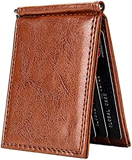 Mens Leather Bag Men's Retro Slim Wallet Bifold Short Wallet Multi Card Slot Pu Leather Business Card Wallet Bag (Color : Brown)