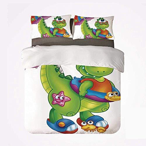 Popun Juego de Funda nórdica Jurassic Decor Práctico Juego de 3 sábanas, Lindo Dinosaurio con Coloridos Paraguas, Gafas para Nadar, Dibujos Animados para Dormify