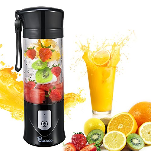 Personal Juicer Blender, Travel Portable USB Mixer Juice Cup with Updated 6 Blades and More Powerful Motor, 13Oz Water Bottle, 4000mAh Rechargeable