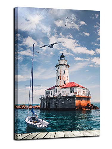 Arjun Lighthouse Ocean Canvas Art Kitchen Wall Decor Water Cabin Indigo Nature Picture Blue Seascape Painting Retro Vintage Print Bathroom Artwork 16'x20' for Living Room Bedroom Dining Room Home Office Decor