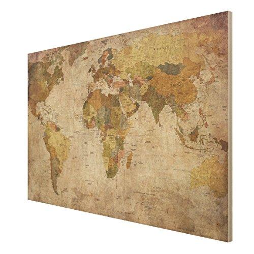 Holzbild Weltkarte - Quer 2: 3 , Größe HxB: 75cm x 120cm