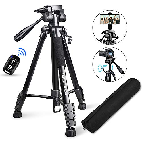 "Torjim 60"" Camera Tripod with Carry Bag Lightweight Travel Aluminum Professional Tripod Stand 5kg/11lb Load with Bluetooth Remote for DSLR SLR Cameras Compatible with iPhone amp Android PhoneBlack"