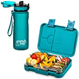 schmatzfatz Kinder Brotdosen Set, junior Lunchbox & Trinkflasche 500ml (Petrol)
