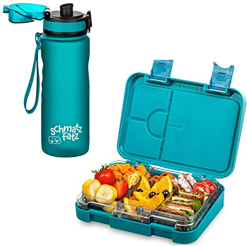 schmatzfatz Kinder Brotdosen Set, junior Lunchbox & Trinkflasche 500ml (Petrol)