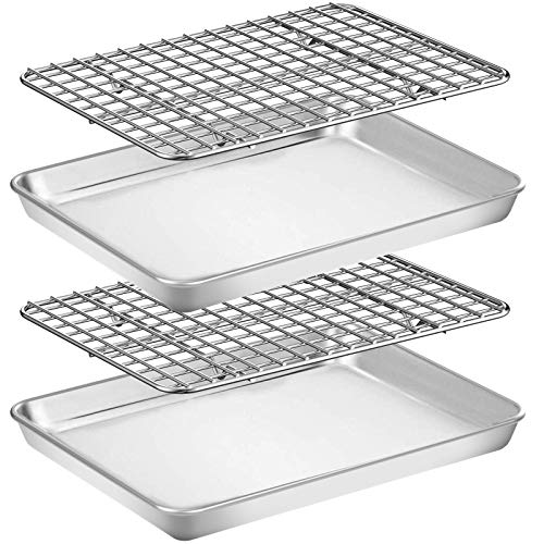 Baking Sheet with Rack Set [2 Pans + 2 Racks], Wildone Stainless Steel Cookie Sheet Baking Pan Tray with Cooling Rack, Size 9 x 7 x 1 Inch, Non Toxic & Heavy Duty & Easy Clean