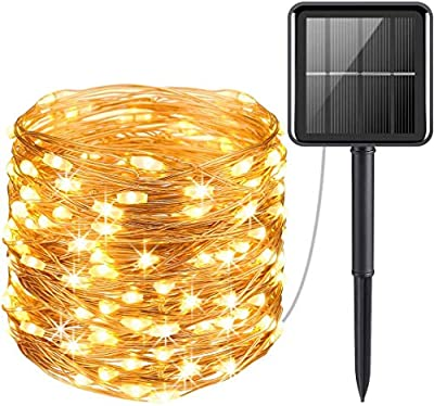 Solar Powered 100 LEDs String Lights, Decorative Icicle Copper Wire Light for Indoor/Outdoor Gardens Homes Wedding Holiday Party, Auto On/Off Waterproof Fairy Gazebo String Lights (10M Warm White)