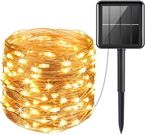 Solar Lichterkette Aussen, LED Solar Kupferdraht Lichterkette, 33 ft 100 LED Lichterkette Außen Wasserdicht KupferDraht 8 Modus Solarlichterkette Deko für Garten, Party, Balkon, Bäume