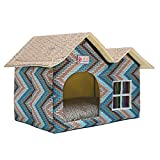 ZPPMC Luxury Double Roof Dog House Room Cat Bed Pet Crates for Dogs Portable Folding Kennel for Pets Indoor Outdoor High-end (Blue)
