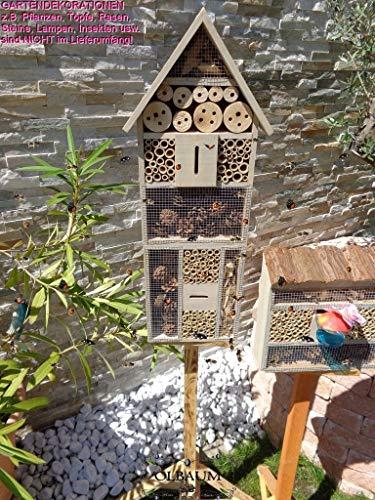 1x XXL insektenhotel, Bienenhaus Spitzdach HOCH, mit Standfuß UND TRÄNKE insektenhotel groß 150 cm schwarz kleines Vogelhaus Meisen Nistkasten