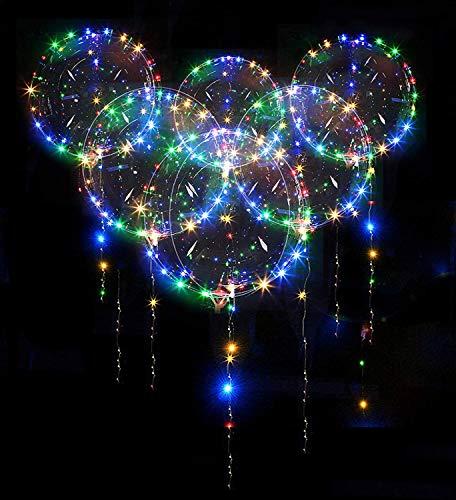 Zodight 10 PCS Luftballons Geburtstag, 20 Zoll Helium Ballons LED Luftballons Bunt mit 3m Lichterketten, Leuchtende Luftballons helium für Party Hochzeit Deko